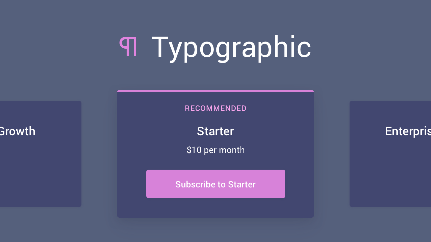 Homepage of Typographic
